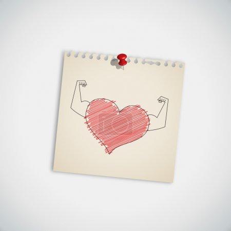 Illustration pour Coeur fort sur note Papier vecteur - image libre de droit