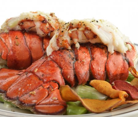 Grilled Lobster Tail With Asparagus ,Close Up...