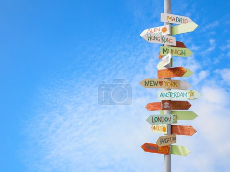 Photo for Travel traffic sign and blue sky - Royalty Free Image