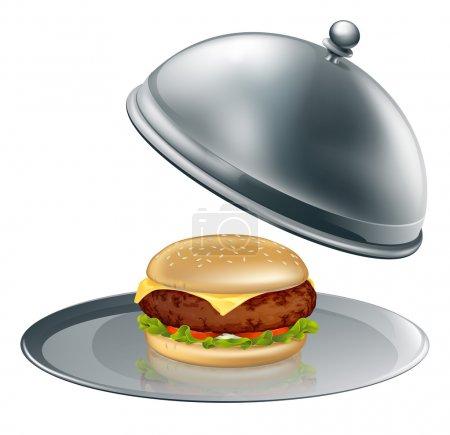 Illustration pour Illustration d'un burger au fromage sur un plateau d'argent. Peut-être un concept de hamburgers gonflés ou de luxe . - image libre de droit