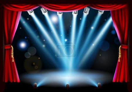 Illustration pour Illustration de fond de scène avec projecteurs de scène bleus pointant vers le centre de la scène et cadre rideau rouge - image libre de droit