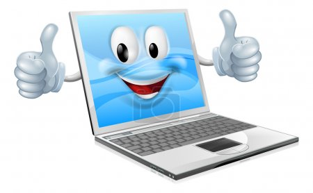 Illustration for Illustration of a cute laptop mascot man giving a thumbs up - Royalty Free Image