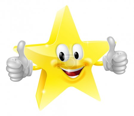 Illustration for A happy cartoon star man giving a double thumbs up - Royalty Free Image