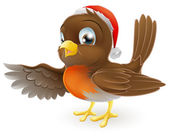 Cartoon Christmas Robin bird mascot in a Christmas hat pointing with its wing