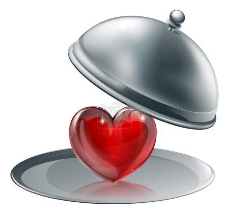 Illustration pour Illustration d'un cœur sur un plateau d'argent. Concept pour donner l'amour ou de l'amour de la cuisine peut-être - image libre de droit
