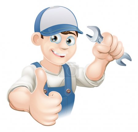 Photo for Illustration of a happy plumber, mechanic or handyman in work clothes holding a spanner and giving thumbs up - Royalty Free Image
