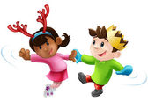 Cartoon of two children or young in seasonal Christmas outfits having fun dancing