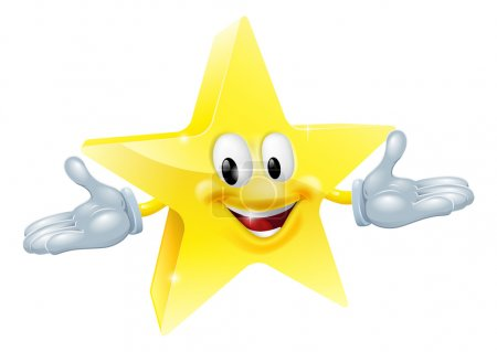 Illustration for An illustration of a smiling gold star character - Royalty Free Image