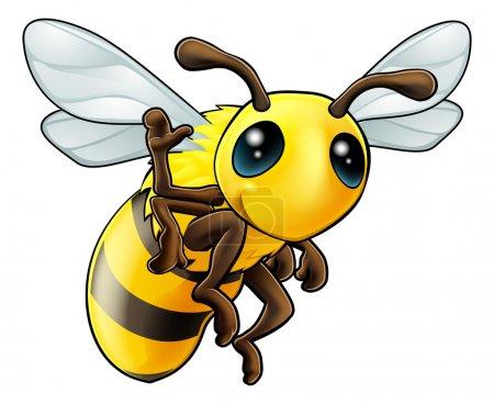 Happy waving cartoon bee