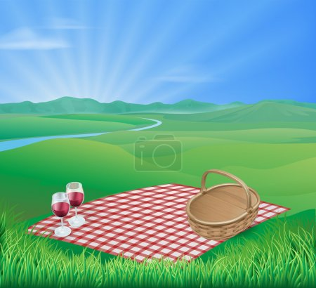 Picnic in beautiful rural scene