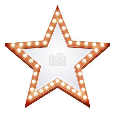 Illustration of a star shaped illuminated sign wit...