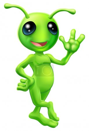 Illustration for Illustration of a cute cartoon little green man alien mascot with antennae smiling and waving - Royalty Free Image
