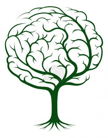 Photo for Brain tree illustration, tree of knowledge, medical, environmental or psychological concept - Royalty Free Image