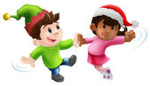 Illustration of two young in Christmas costume having a dance together