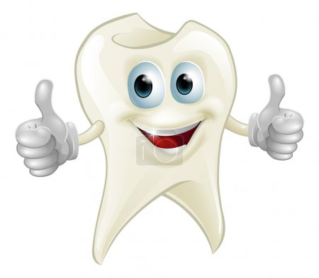 Illustration for Illustration of a smiling tooth mascot character doing a double thumbs up - Royalty Free Image