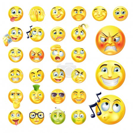 Illustration for A set of very original emoticon or emoji icons representing lots of reactions, personalities and emotions - Royalty Free Image