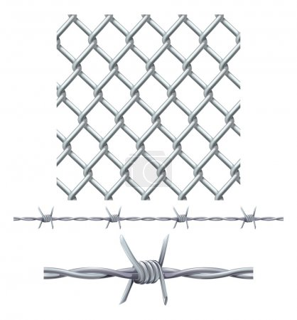Seamless tiling fence and barbed wire