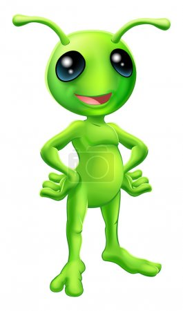 Illustration for Cartoon green happy friendly alien standing with his hands on his hips - Royalty Free Image