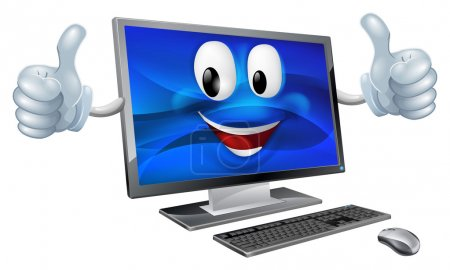 Illustration for A cute happy cartoon computer mascot character smiling and doing a thumbs up - Royalty Free Image