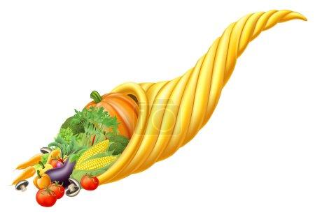 Cornucopia horn full of fresh produce food