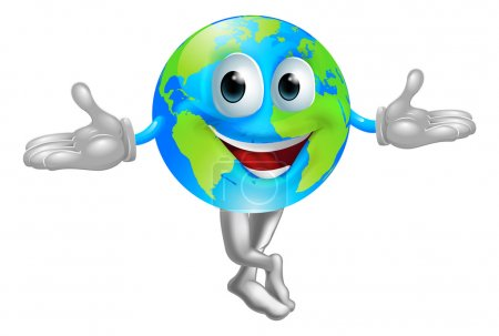 Illustration for A cute cartoon illustration of a globe world mascot man - Royalty Free Image