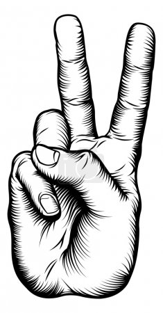 Illustration for Illustration of a victory V salute or peace hand sign in a retro woodblock style - Royalty Free Image