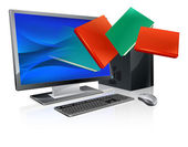 Desktop computer with books flying out of screen Online education or ebook concept