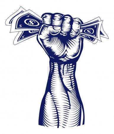 Fist holding up money