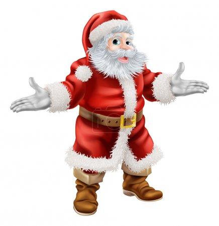 Illustration pour Illustration de dessin animé de Noël de tout le corps debout heureux Père Noël - image libre de droit