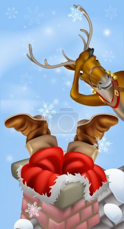 Illustration for Humorous Christmas drawing of Santa Claus stuck in a chimney while his reindeer looks on in despair - Royalty Free Image