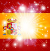 Flag of Spain background with pyrotechnic or light burst and copy space in the centre