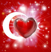 Flag of Turkey patriotic background with pyrotechnic or light burst and love heart in the centre