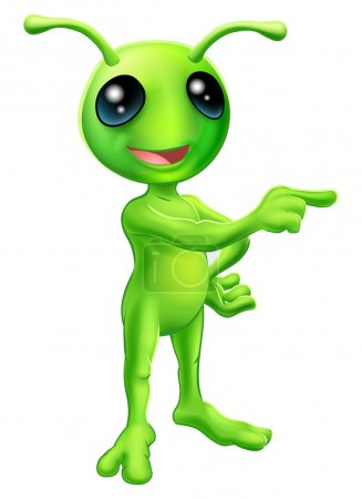 Illustration for An illustration of a cute green cartoon alien pointing a finger and showing something - Royalty Free Image