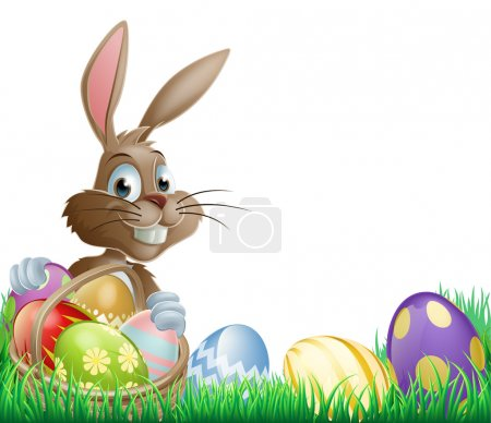Illustration for Isolated Easter footer design with a bunny rabbit and decorated Easter eggs in a basket - Royalty Free Image