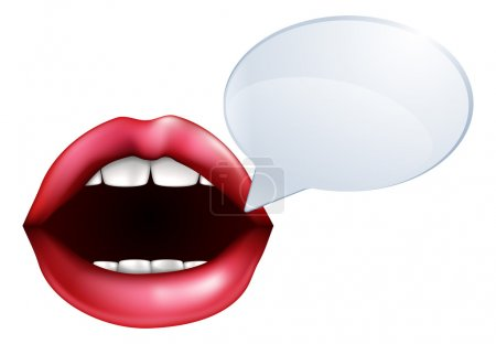 Illustration for An illustration of open mouth or lips talking with a speech bubble for the words - Royalty Free Image