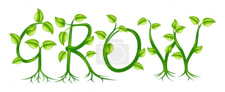 Illustration for The word grow spelled out with a plant or vines with leaves growing into the letters - Royalty Free Image