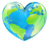 A world globe in the shape of a heart symbol Concept for loving travel or loving the world and caring for the environment or similar