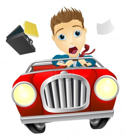 Illustration for A cartoon businessman, scared driving fast in an out of control ca - Royalty Free Image