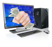 An illustration of a desktop computer with a fist full of dollars breaking out of the screen