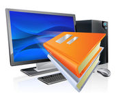 An education e-learning computer book concept book icons flying out of a desktop pc computer Could also relate to ebooks as well as online learning