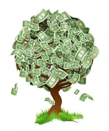 Illustration pour Illustration conceptuelle d'un arbre cultivant de l'argent sous forme de billets en dollars. Concept pour le profit ou la croissance économique, gagner des intérêts ou similaire croissance de votre type d'argent thème. - image libre de droit