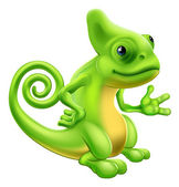 Illustration of a cartoon chameleon lizard character standing and showing something with their hand