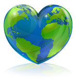 A conceptual illustration for loving the world the globe in the shape of a love heart Could be used for environmental or travel and tourism related themes