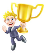 Business man winner and trophy