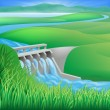 Illustration of a hydroelectric dam generating pow...