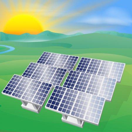 Illustration pour Illustration d'un panneau solaire photovoltaïque générant électricité et électricité - image libre de droit