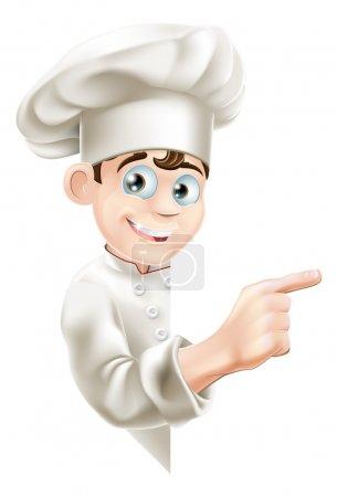 Illustration pour Illustration d'une mascotte de chef de bande dessinée pointant vers votre message ou bannière - image libre de droit