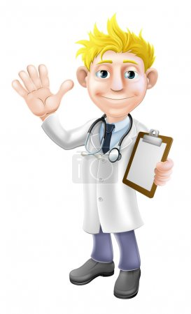 Cartoon doctor with clipboard