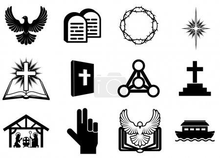 Foto de Conjunto de iconos, signos y símbolos religiosos cristianos - Imagen libre de derechos