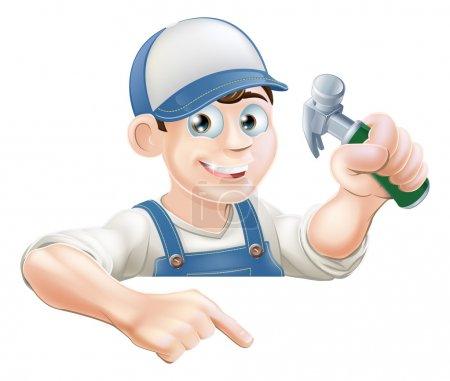 Illustration pour Un charpentier de dessin animé ou un type de la construction avec un marteau jetant un coup d'oeil sur un signe ou une bannière et pointant vers elle - image libre de droit